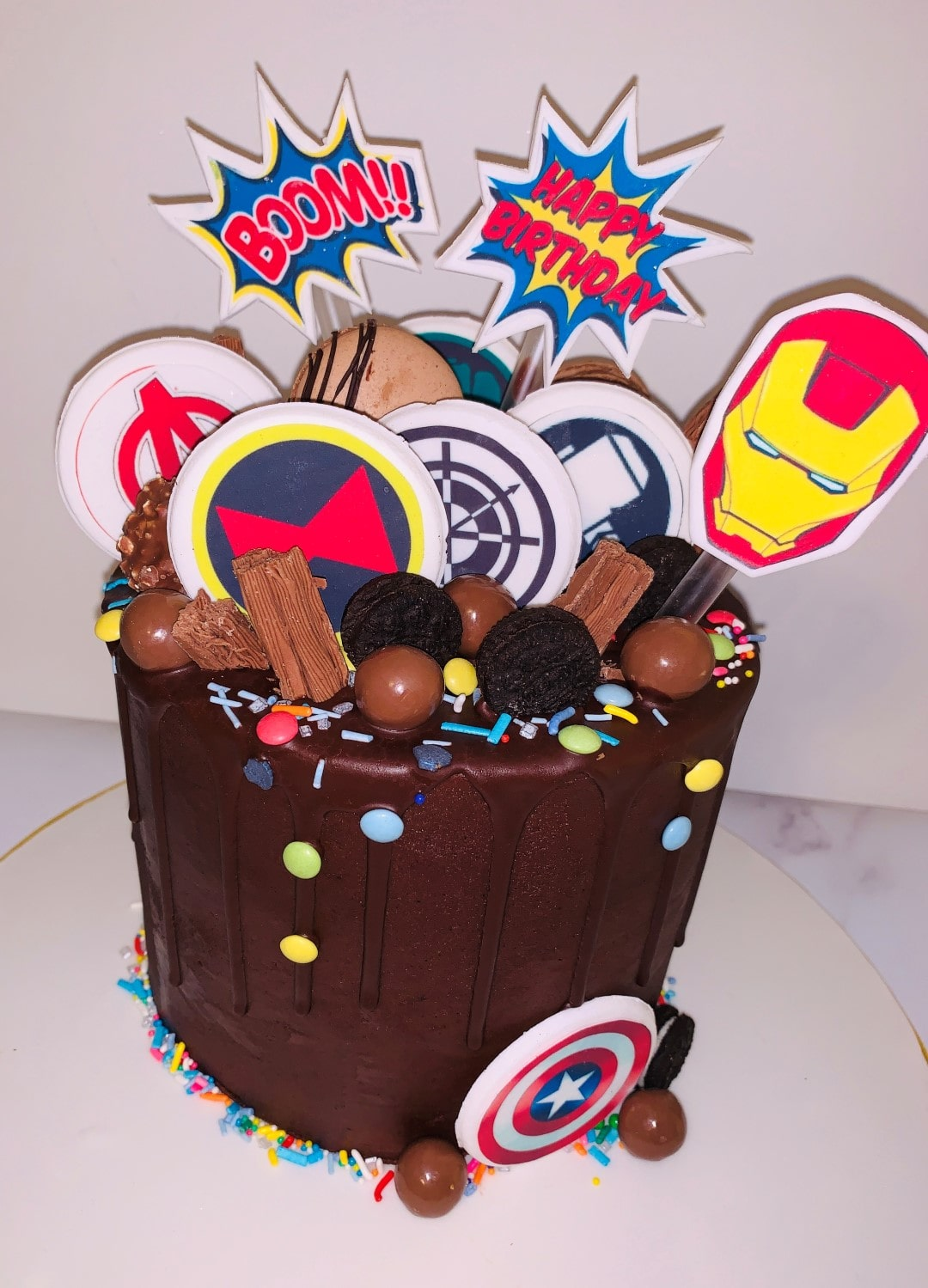 chocolate avengers themed cake